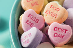 Candy Conversation Hearts for Valentine's Day royalty free stock photos