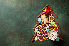 Candy, cookie and cinnamon christmas tree shape Royalty Free Stock Image
