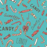 Candy Cookies Bows Seamless Pattern Stock Photography