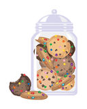 Candy cookies in a jar. An illustration of crunchy cookies with colorful candy pieces in a glass jar on a white background Stock Image