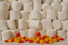 Candy Corn. Halloween candy corn with stacked marshmallow background Royalty Free Stock Photography