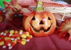 Candy Corn in basket Royalty Free Stock Photos