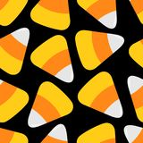 Candy corn big. Happy Halloween Seamless Pattern. Wrapping paper, textile template. Flat design. Black background. Vector illustration Royalty Free Stock Photography