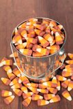 Candy corn. With pail in evening hours for hallow effect stock photos