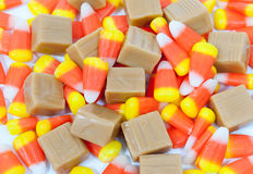 Candy Corn and Caramels Stock Photography