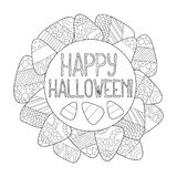 Candy corn  coloring page. Happy Halloween greeting card. Candy corn frame. Halloween coloring page. Sweet kernel with pattern. Halloween coloring book for Stock Photography