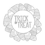 Candy corn  coloring page. Trick or treat greeting card. Candy corn frame. Halloween coloring page. Sweet kernel with pattern. Halloween coloring book for Stock Images