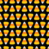 Candy corn food line. Happy Halloween Seamless Pattern. Flat design. Black background. Stock Photo