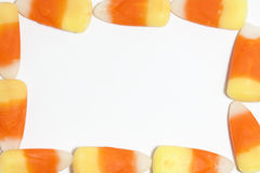 Candy Corn Frame. Pieces of candy corn forming a frame Royalty Free Stock Photo