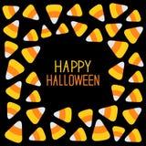 Candy corn frame. Happy Halloween card. Flat design. Stock Photos