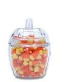 Candy Corn, Glass Dish Stock Photos