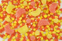 Candy Corn and Gumdrop Background Stock Photography