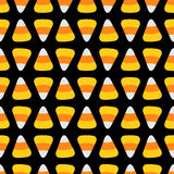 Candy corn. Happy Halloween Seamless Pattern Black background. Flat design. Royalty Free Stock Images