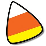 Candy Corn I on. An illustrated candy corn icon, isolated on a white background stock illustration