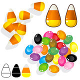Candy corn and jelly beans Stock Images