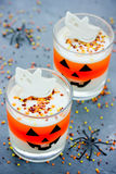 Candy corn layered jello - sweet treat for children on Halloween Stock Image
