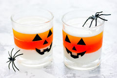 Candy corn layered jello - sweet treat for children on Halloween Royalty Free Stock Photos