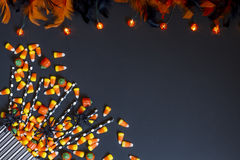 Candy Corn and Lights royalty free stock images