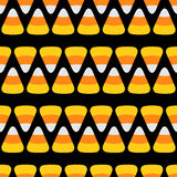 Candy corn line. Happy Halloween Seamless Pattern Black background. Flat design. Royalty Free Stock Photo