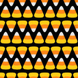 Candy corn line. Happy Halloween Seamless Pattern. Flat design. Black background. Stock Photography