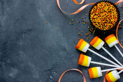 Candy corn marshmallow pops. Sweets and treats on Halloween part Stock Photography