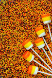 Candy corn marshmallow pops - treat on Halloween party or Thanks Stock Photography