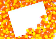 Candy Corn Notecard. A blank notecard, invitation, or announcement with candy corn Stock Images