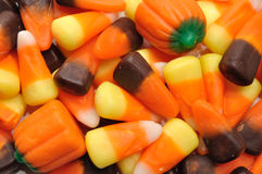 Candy Corn and Pumpkins Stock Photography