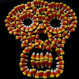 Candy corn skull. Display of candy corn for Halloween Royalty Free Stock Photos