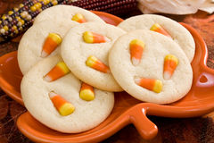 Candy Corn Sugar Cookies Stock Photos