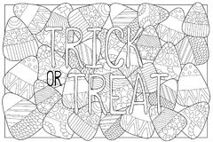 Candy corn sweets  coloring page. Candy corn with ornament. Halloween coloring page. Candy corn background. Sweet kernel with patterns. Halloween coloring book Stock Photography