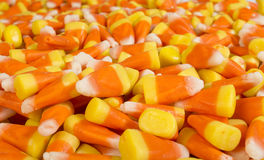 Candy corn up close. Full frame close up of candy corn stock photos