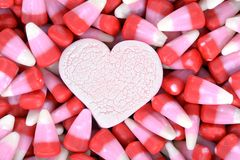 Candy corn for Valentine Day Stock Photography