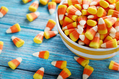 Candy corns in bowl Royalty Free Stock Photography