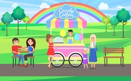 Candy Cotton Shop Stand Park Vector Illustration. Candy cotton shop stand in park with trees and rainbow, people buying products at mibole sweets vans, benches royalty free illustration
