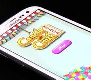 Candy Crush Saga Game. Johor, Malaysia - Jan 1, 2014: Photo of Candy Crush Saga game on a smartphone screen. Candy Crush Saga is famous game on Jan 1, 2014 in royalty free stock images
