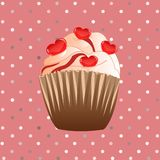 Candy cupcake on the pink background Stock Photos