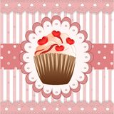 Candy cupcake on the pink background Stock Images