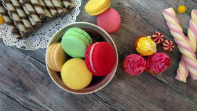 Candy, cupcakes and macaroons stock footage