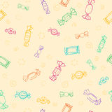 Candy day. Seamless pattern of colorful candy and sweets. Seamless pattern of candy. Vector sweets background. A light colorful outline on a yellow background Vector Illustration