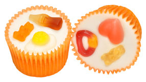 Candy Decorated Cupcakes Stock Photos