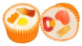 Candy Decorated Cupcakes Stock Photos