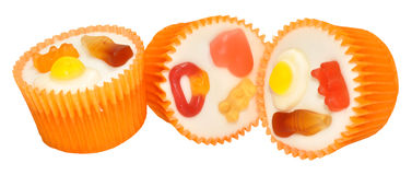 Candy Decorated Cupcakes Stock Images
