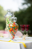 Candy decorations. Banquet and wedding candy decorations on the table Stock Images