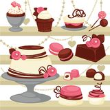Candy and dessert cake or ice cream cookie vector patisserie menu design Stock Image