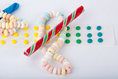 Candy. Different types of candy isolated on a white background stock photos