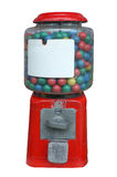 Candy dispenser, Gum ball machine, Vending machine with white empty label. Isolated on white background Royalty Free Stock Photography