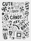 Candy elements doodles hand drawn line icon, eps10 Stock Photography