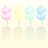 Candy floss. In four different colours reflected Royalty Free Stock Photo