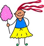 Candy floss kid. Little girl with some candy floss from the fair - toddler art series Royalty Free Stock Photography